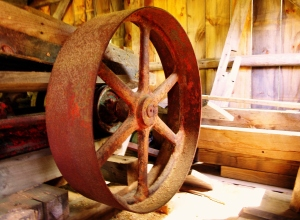 grist mill power wheel, Sanborn Mills, NH